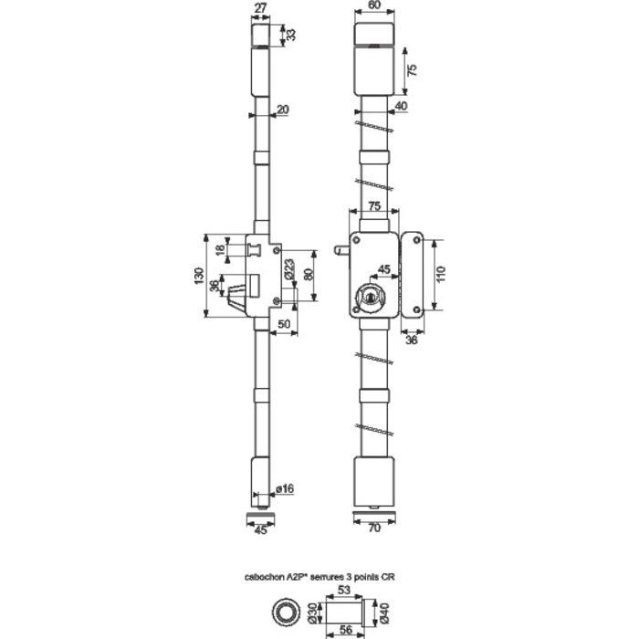 Serrure en applique à tirage Beluga CP A2P* - Marron - Axe 45 mm-2
