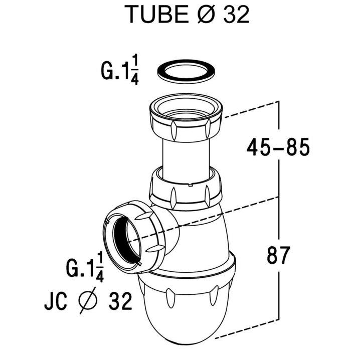 Siphon à culot de lavabo et bidet-1
