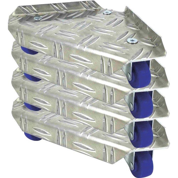 Jeu de 4 coins roulants pour meuble - Aluminium
