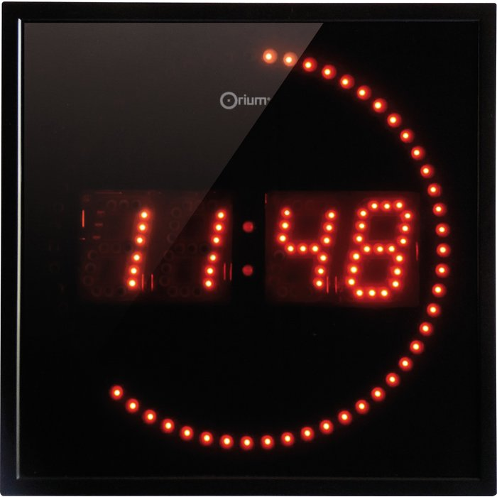 Horloge à LED rouge - Studio - Accroche 2 en 1 - Noir