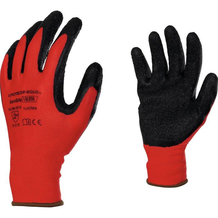 Gants manutention de précision - Enduction latex - Rouge et noir