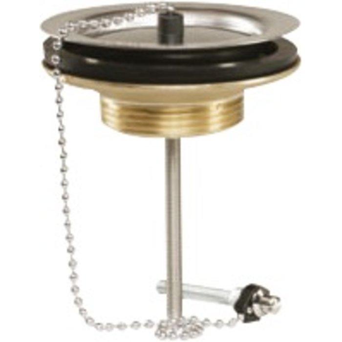 Bonde à bouchon pour évier grès - Laiton - Diamètre 60 mm