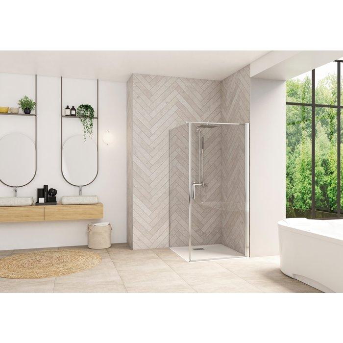 Porte montage angle Smart Design - Sans seuil - Verre transparent