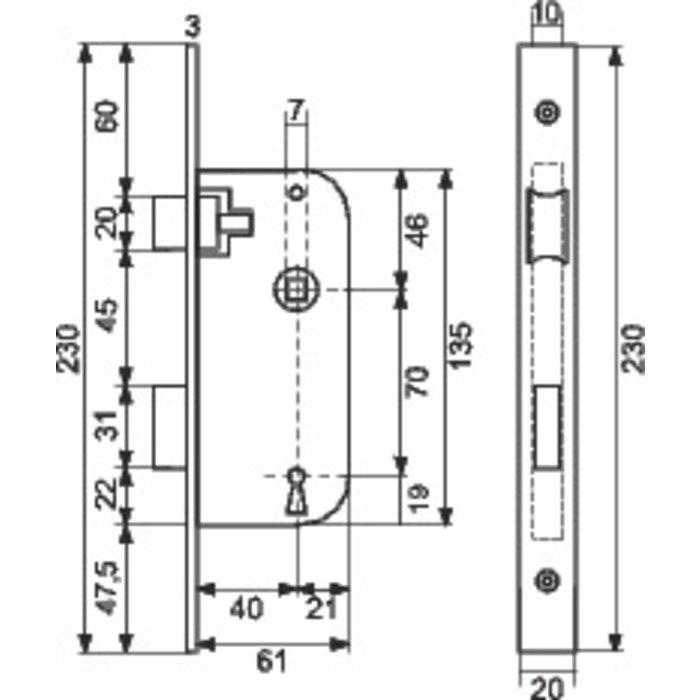 Serrure à larder Optimum - Bouts carrés - Noir - Axe 40 mm-1