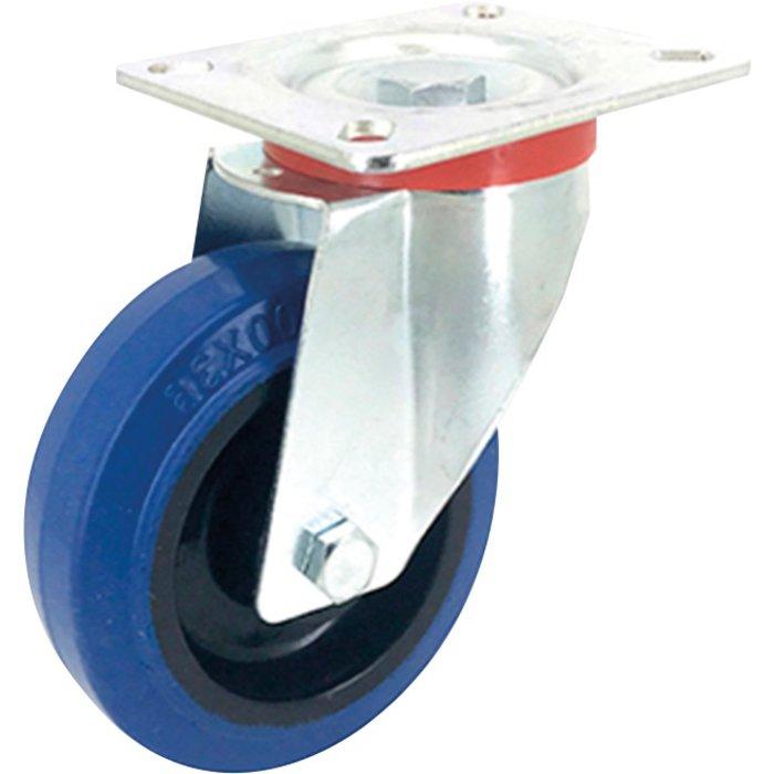 Roulette caoutchouc Tecnibleu platine pivotante série S2N