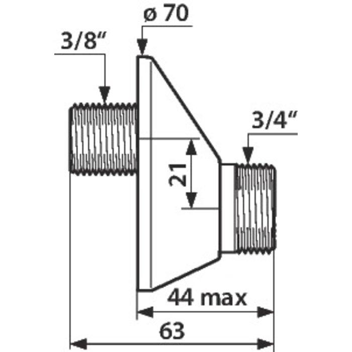 Raccord excentré - Mâle / Mâle - Excentration de 21 mm-1