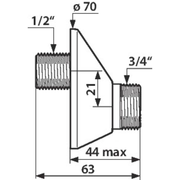 """Raccord excentré - Mâle 1/2"""" - Mâle 3/4"""" - Excentration de 21 mm-1"""
