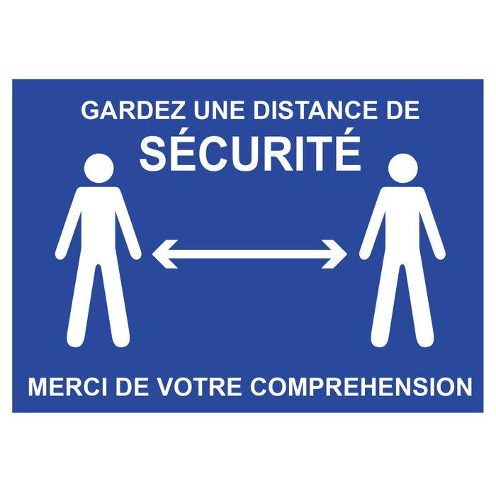 Panneau Garder une distance de sécurité - Bleu