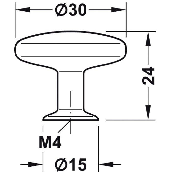 Bouton plat aspect inox