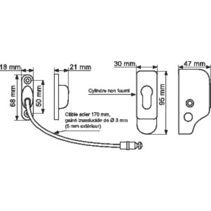 Entrebailleur de sécurité pour fenêtre - À câble - Époxy blanc-1