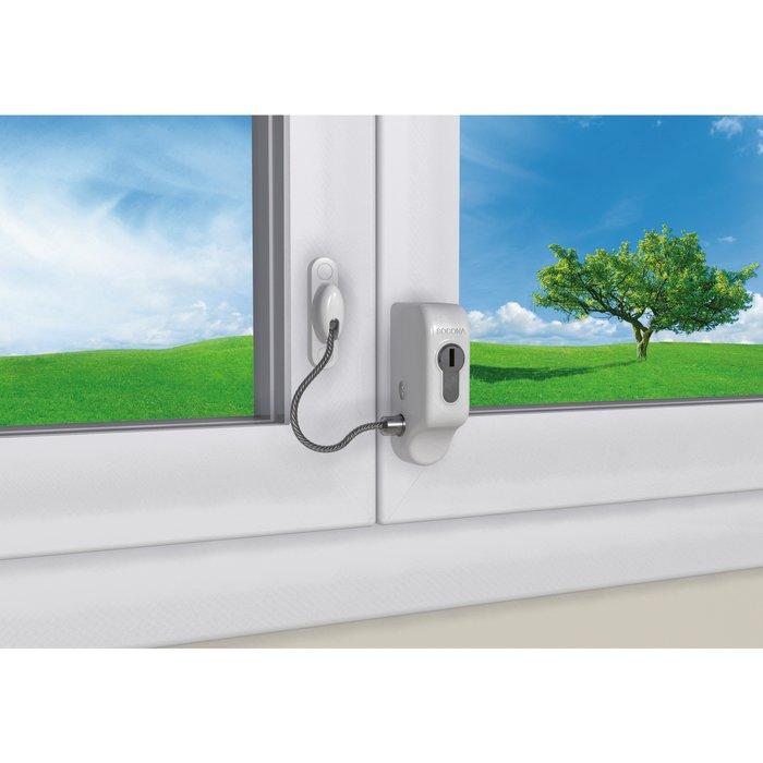 Entrebailleur de sécurité pour fenêtre - À câble - Époxy blanc-3