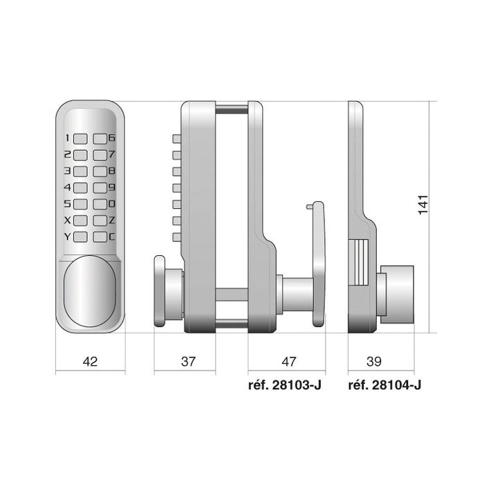 Verrou à code Jokey 500 - En applique - Gris métal-1