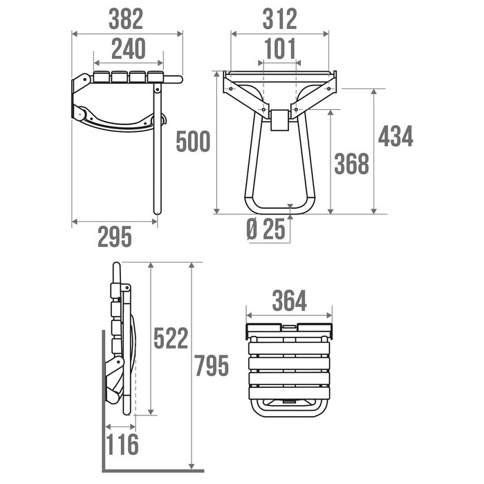 Siège de douche avec béquille automatique - Gris-1