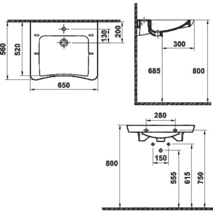 Pack lavabo céramique spécial PMR-1