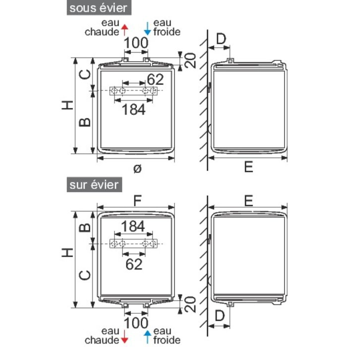 Chauffe-eau vertical - Petite capacité - Fixation murale-1