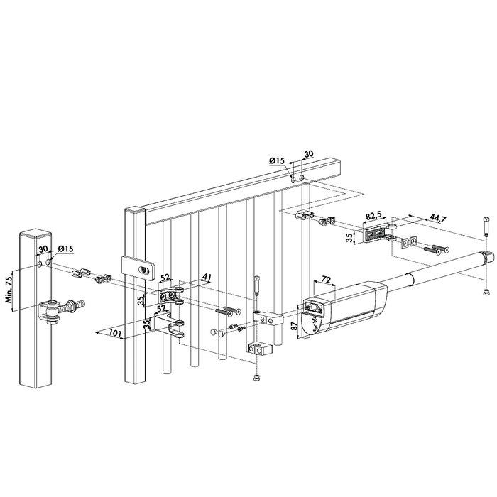 Ferme-portail hydraulique Samson-2 - Polyvalent - Largeur du portail 2 m-1
