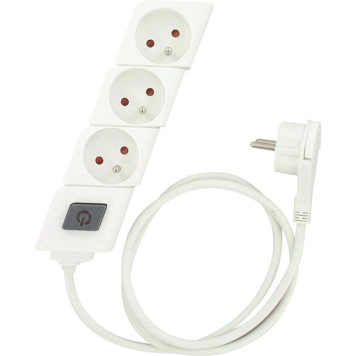 Bloc multiprise - 2P+T - Fiche plate - Avec interrupteur