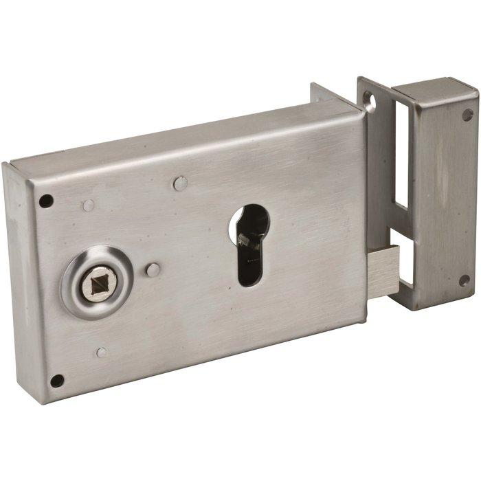 Serrure de sûreté horizontale pour portail Poilly - À fouillot - Axe 52 mm