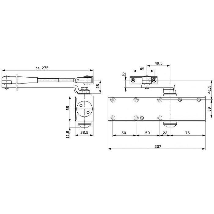 Ferme-porte TS Profil - Bras compas - Force 2 à 4-1