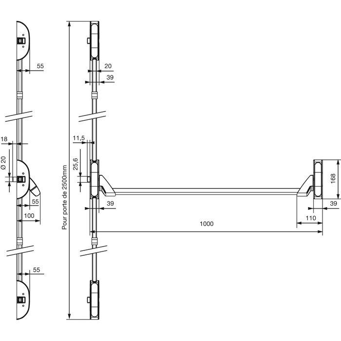 Serrure anti-panique 6800 Premium PA - Barre - 3 points latéraux - Argent-1