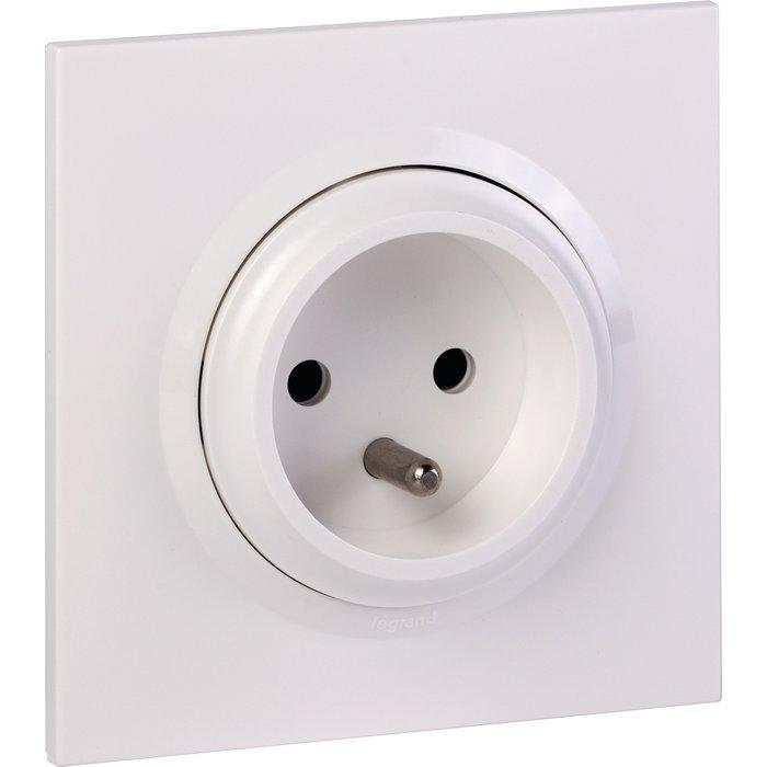Prise de courant easyréno 2P+T faible profondeur + plaque carrée et griffes - Dooxie one - Blanc