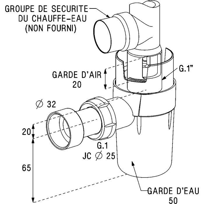 Siphon pour groupe de sécurité - À coller-1