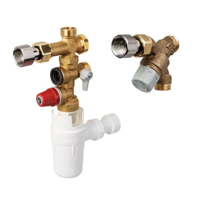 Kit de sécurité pour chauffe-eau thermodynamique - KMIX - Laiton - Prêt à poser