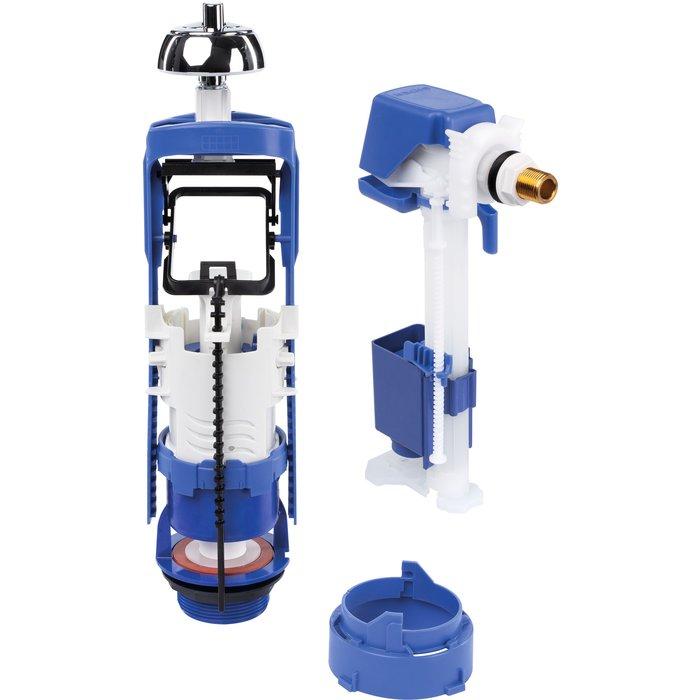 Mécanisme de chasse universelle double débit et robinet flotteur Rob'control